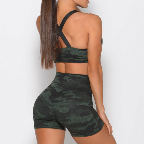 Custom Wholesale Athletic Wear Camo Criss Cross Sports Bra and Shorts Set-Aktik