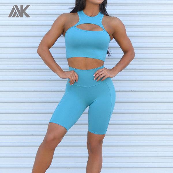 Private Label Wholesale Gym Clothes High Waisted Biker Shorts Set-Aktik
