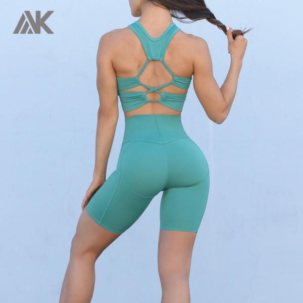 Custom Wholesale Gym Wear High Support Sports Bra and Bike Short Set-Aktik