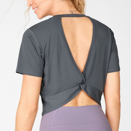 Custom Crop Tops Short Sleeve Crew Neck Gym T Shirts for Women-Aktik