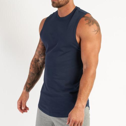 Custom Mens Round Neck Cotton Bulk Workout Tank Tops with Printing-Aktik
