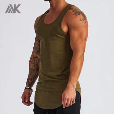 Custom Round Neck Racerback Cotton Athletic Tank Tops for Men-Aktik