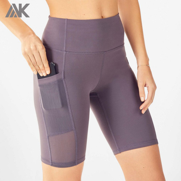 Custom Womens High Waisted Best Wholesale Biker Shorts with Pockets-Aktik