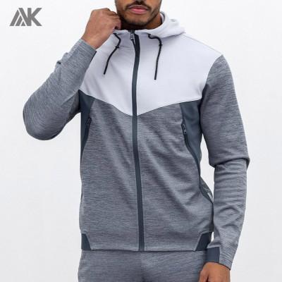 Private Label Wholesale Plain Mens Full Zip Hoodies with Zip Pockets-Aktik