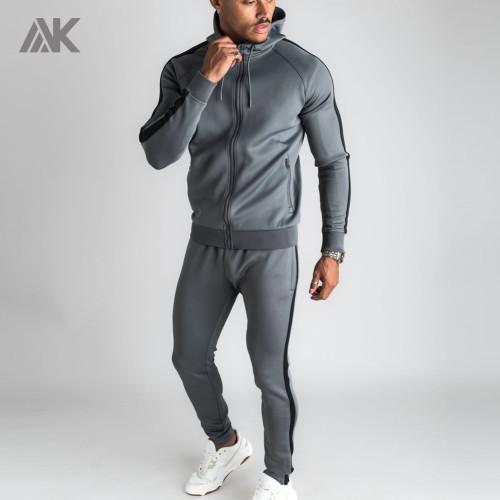 Custom Mens Full Zip Up Raglan Sleeve Wholesale Tracksuits with Zip Pocket-Aktik
