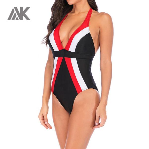 Private Label Wholesale Swimwear Deep V Neck One Piece Custom Swimsuits-Aktik