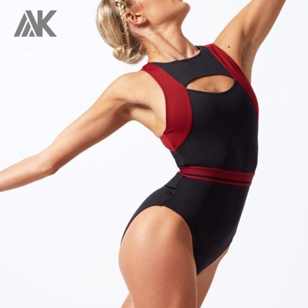 Custom Dancewear Racerback Cut Out Leotards for Ballet with Front Zip-Aktik