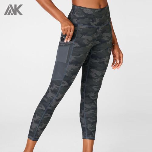Custom Sportswear Women High Waisted Camo Custom Tights with Mesh Pockets-Aktik