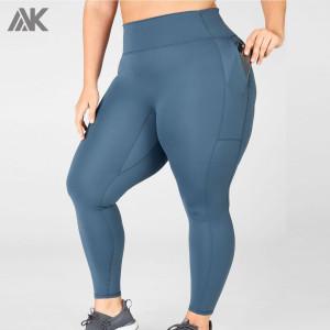 Custom Activewear High Waisted Plus Size Workout Leggings with Zip Pockets-Aktik
