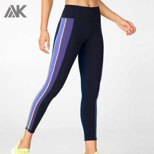 Private Label Wholesale Women's Activewear Leggings with Colored Stripes-Aktik