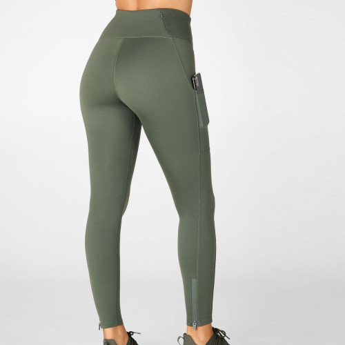 Wholesale No Front Seam Best Gym Leggings with Pockets and Zip on Ankle-Aktik