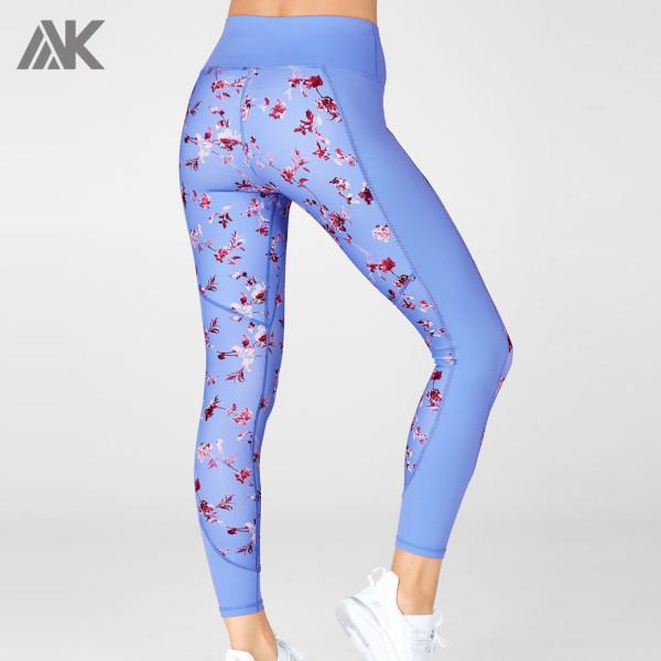 Custom High Waisted Lycra Floral Printed Light Blue Leggings for Women-Aktik
