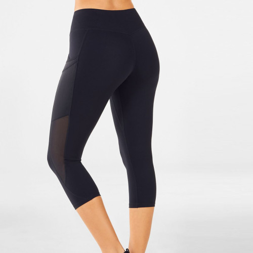 Custom Mid Waisted Womens Capri Leggings with Mesh Pockets and Panels-Aktik