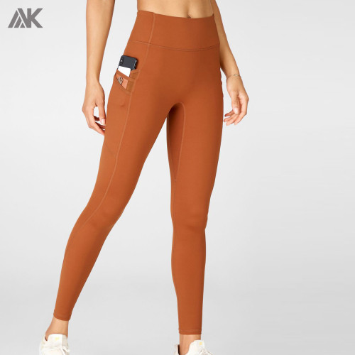 Custom High Waisted No Front Seam Workout Leggings With Phone Pocket-Aktik