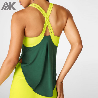 Custom Dri Fit Womens X-back Workout Tank Tops with Built in Bra Support-Aktik