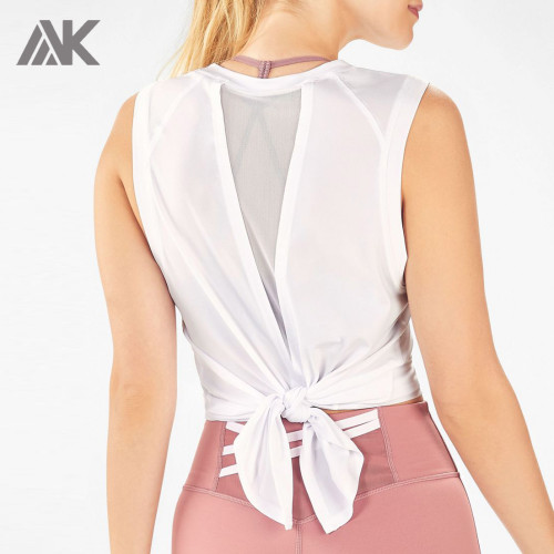 Custom Loose Fit Tie Back Womens Plus Size Tank Tops with Mesh Panel-Aktik