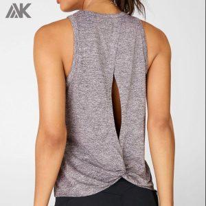 Custom Design Loose Fit Open Back Women's High Neck Dri Fit Tank Top-Aktik