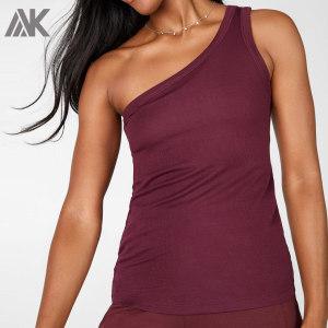 Custom One Shoulder Tank Top Cotton Plus Size Womens Ribbed Tank Tops-Aktik