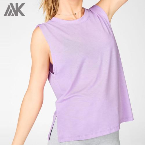 Custom Cotton Tank Tops Plus Size High Neck Womens Loose Tank Top-Aktik