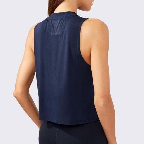Custom Loose Fitting Cotton High Neck Tank Top Workout for Women-Aktik