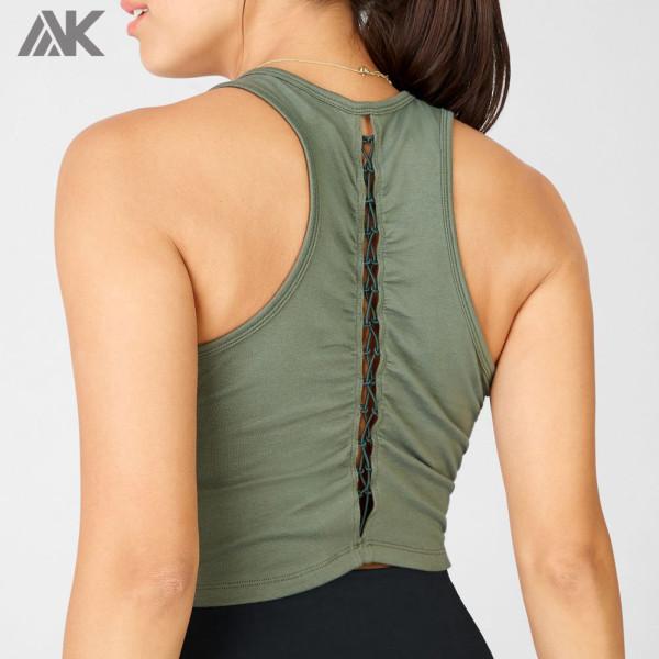 Custom Cotton Spandex Womens High Neck Racerback Cute Cropped Tank Top-Aktik