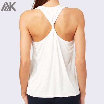 Custom Athletic Works Tank Tops Twist Back Cotton White Tank Top for Women-Aktik