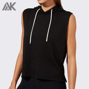 Custom Cotton Hooded Tank Top Sleeveless Tank Top Hoodie for Girls-Aktik