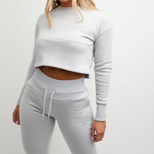 Wholesale Womens Sweatsuits Cotton Slim Fit Pullover Cropped Jogging Suits-Aktik