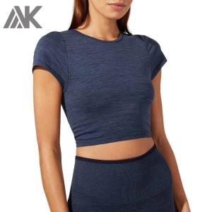 Wholesale Bulk Women's Short Sleeve Crew Neck Cropped Fitted T Shirt -Aktik