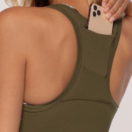 Custom Womens Racerback Muscle Square Neck Tank Top No Bra with Pocket-Aktik