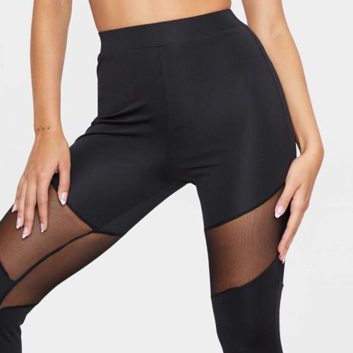 Custom Dry Fit Black Mesh Sexy High Waisted Sports Leggings for Women-Aktik