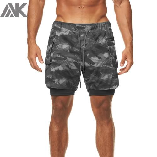 Custom Athletic Shorts Camo Print Best Mens Running Shorts with Pocket-Aktik