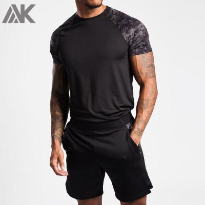 Custom Logo T Shirt Men's Raglan Sleeve Slim Fit Athletic Fit T Shirts-Aktik