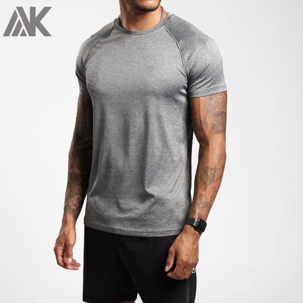 Custom Fit T Shirts Mens Crew Neck Reflective Dri Fit Raglan Logo T Shirts-Aktik
