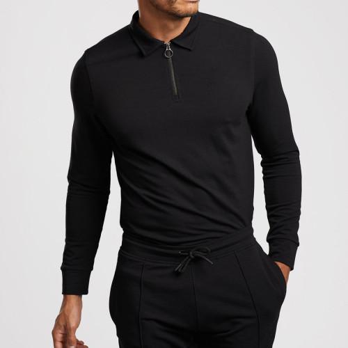 Custom Long Sleeve Collar T Shirt Zip Up Slim Fit Polo T Shirts for Men-Aktik