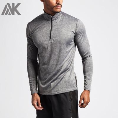 Wholesale Fitness Active Shirt Long Sleeve 1/4 Zip Mens Custom T Shirts-Aktik