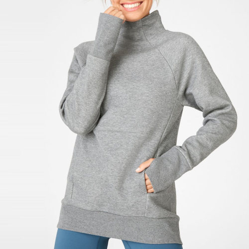 Custom Design Womens Thick Cotton High Neck Long Sweatshirts with Pocket-Aktik