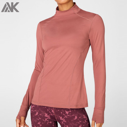 Custom Womens High Neck Plain Sweatshirts with Thumb Holes and Zip Pocket-Aktik