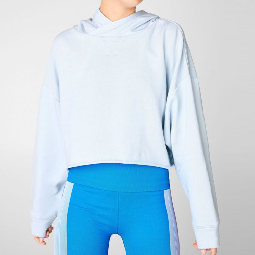 Custom Oversized Cotton Hooded Plus Size Women's Cropped Sweatshirt-Aktik