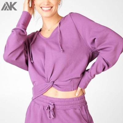 Wholesale Plus Size Blank Oversized Cotton Crop Women's Hooded Sweatshirt-Aktik