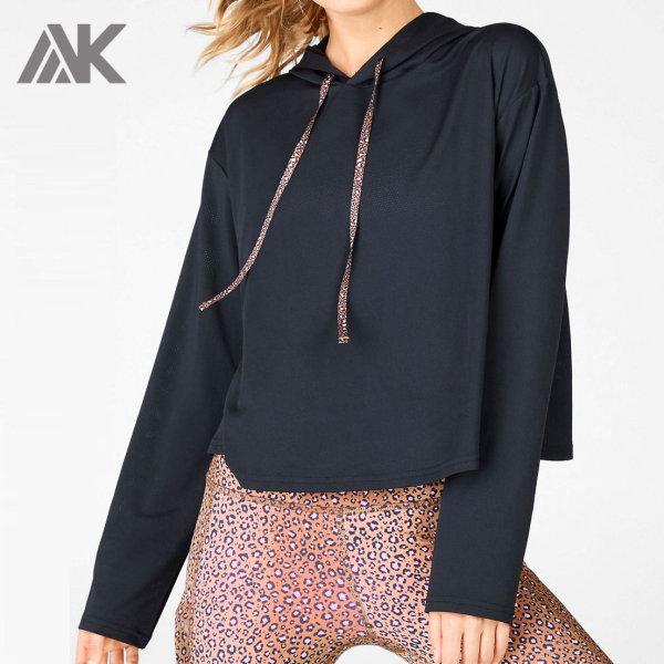 Private Label Custom Oversized Mesh Dri Fit Gym Hoodies for Women-Aktik