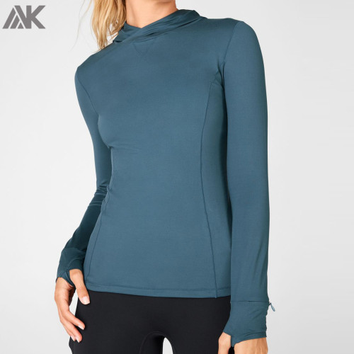 Wholesale Hoodies In Bulk Womens Slim Fit Dri Fit Gym Hoodies with Pockets-Aktik
