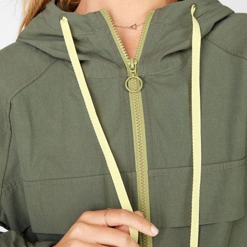 Custom Oversized Womens Zip Up Windbreaker Plus Size Hoodies with Pockets-Aktik