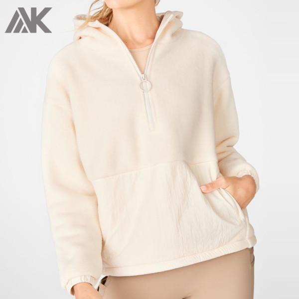 Custom Oversized Pullover Womens Zip Up Fleece Hoodie with Zip Pockets-Aktik