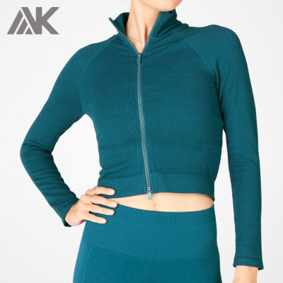 Private Label Wholesale Dri Fit High Neck Fitted Cropped Gym Jacket Womens-Aktik