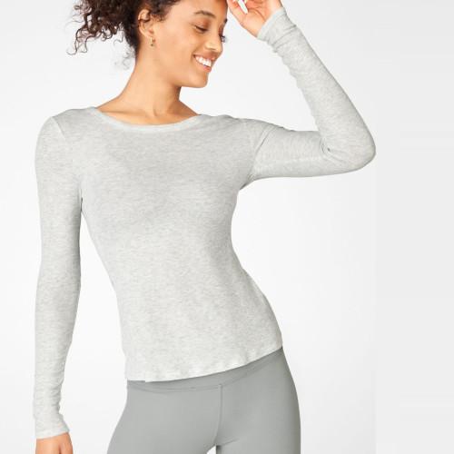 Custom T shirt Design Crew Neck Ribbed Slim Fit Long Sleeve T Shirts Women-Aktik