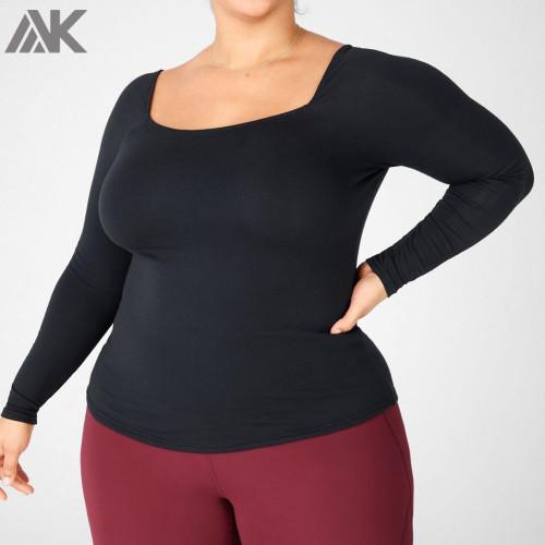 Custom Cotton Square Neck Fitted Long Sleeve Plus Size Women's T Shirts-Aktik