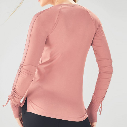 Custom Dry Fit Crew Neck Fitted Long Sleeve Athletic T Shirts for Women-Aktik
