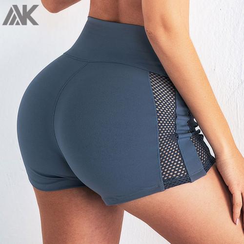 Custom Sexy Yoga Shorts Mid Rise Womens Spandex Shorts with Mesh Panels-Aktik