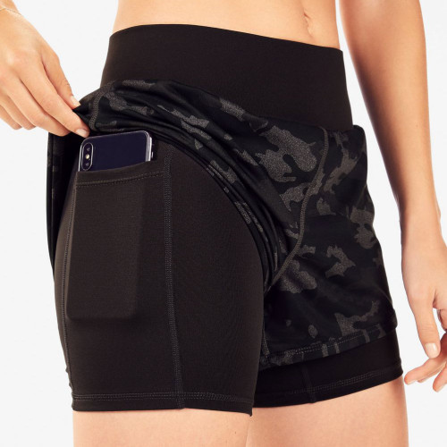 Custom Mid Rise Womens 2 in 1 Running Shorts with Liner and Pockets-Aktik